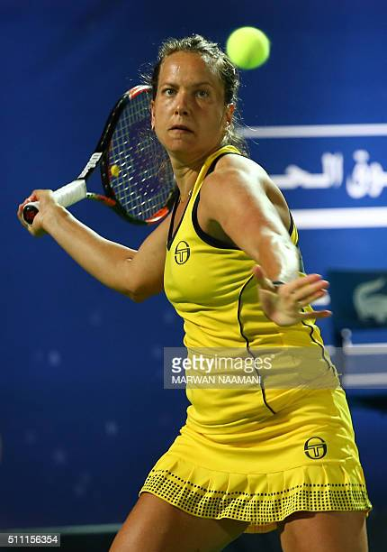 Czech player Barbora Strycova returns the ball to Serbia's Ana Ivanovic during their quarterfinal WTA game as part of the Dubai Duty Free Tennis...