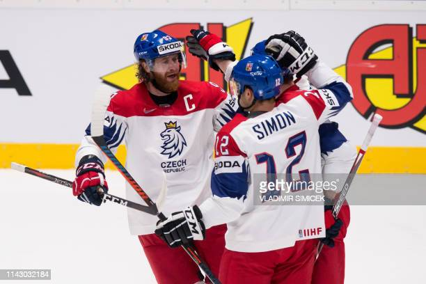 Czech players celebrate after scoring during the IIHF Men's Ice Hockey World Championships Group B match between Norway and Czech Republic on May 11...