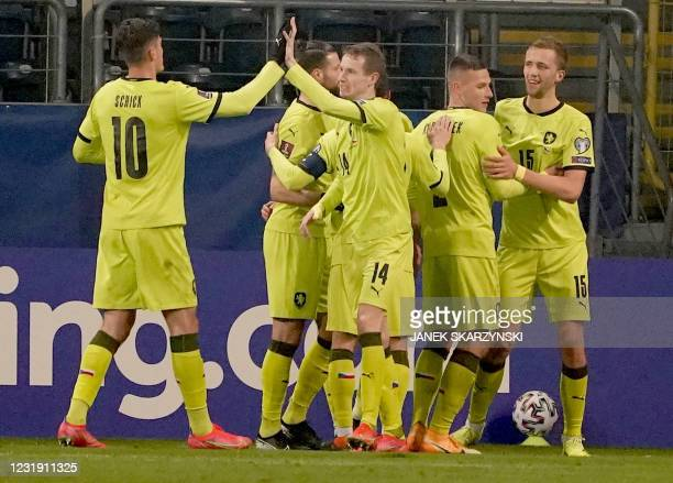 Czech players celebrates scoring during the FIFA World Cup Qatar 2022 qualification football match Estonia v Czech Republic in Lublin, Poland on...