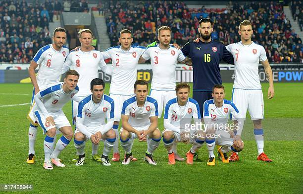 Czech players pose for a team picture prior the friendly soccer match Czech Republic vs Scotland on March 24 2016 in Prague Borek Dockal Kamil Vacek...