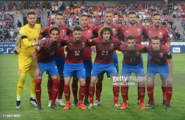 Czech players pose for the team photo prior to the UEFA Euro 2020 qualifier Group A football match Czech Republic against Bulgaria on June 7, 2019 in...
