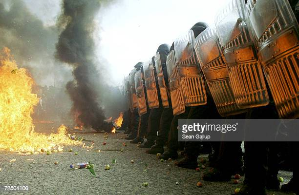 Czech police officers in riot gear train in crowd control tactics August 31 2000 at the former Russian military base in Milovice Czech Republic Czech...