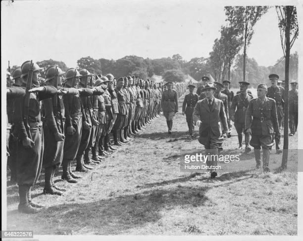 Czech politician Dr Eduard Benes inspects a line of Czech troops