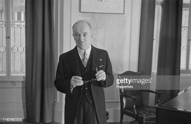Czech politician Edvard Benes President of Czechoslovakia in exile pictured during the swearing in ceremony for the new Czechoslovak government in...