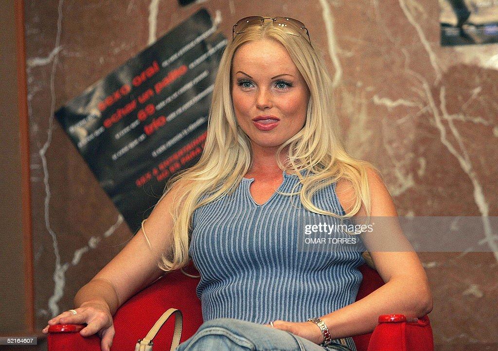 Czech porno star Silvia Saint poses for photographers