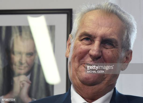 Czech President and presidential candidate in next Czech presidential election Milos Zeman addresses a press conference after announcing a petition...