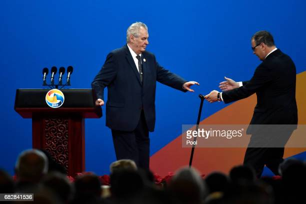 Czech President Milos Zeman, after deliver a speech, leaves from the satge on Plenary Session of High-Level Dialogue, at the Belt and Road Forum on...