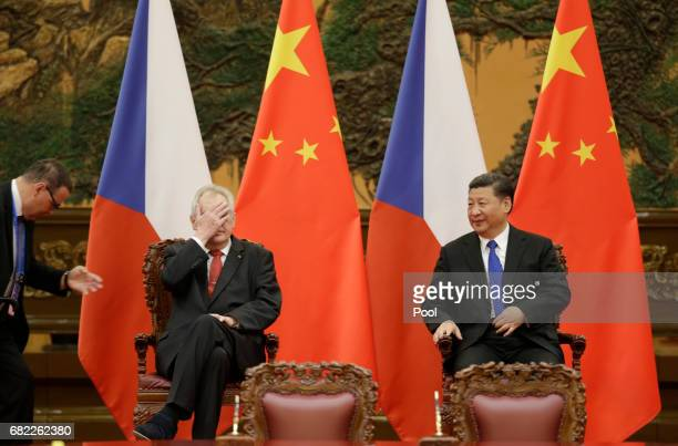 Czech President Milos Zeman and China's President Xi Jinping attend a signing ceremony at the Great Hall of the People, in Beijing, China May 12,...