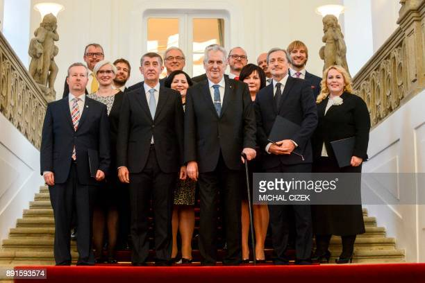 Czech President Milos Zeman and Czech Prime Minister Andrej Babis and the newly appointed members of the Czech government pose for a group picture...