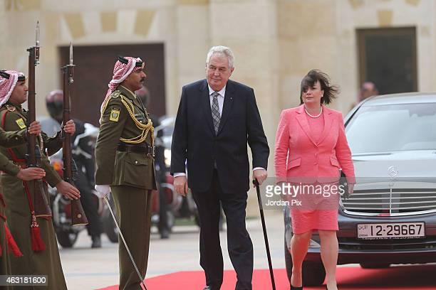 Czech President Milos Zeman and his wife Ivana Zeman arrive at Al Husseineya Palace to meet with Jordan's King Abdullah II and his wife Queen Rania...