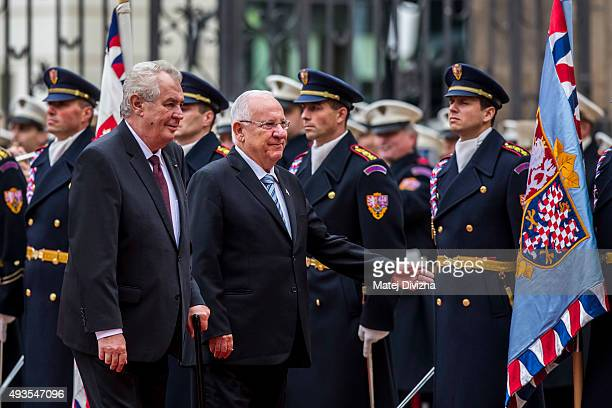 Czech President Milos Zeman and Israeli President Reuven Rivlin inspect the guard of honor during a welcoming ceremony at the Prague Castle on...