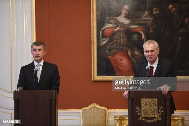 Czech President Milos Zeman and newly appointed Czech Prime minister and ANO party leader Andrej Babis attend a press conference on December 06 2017...