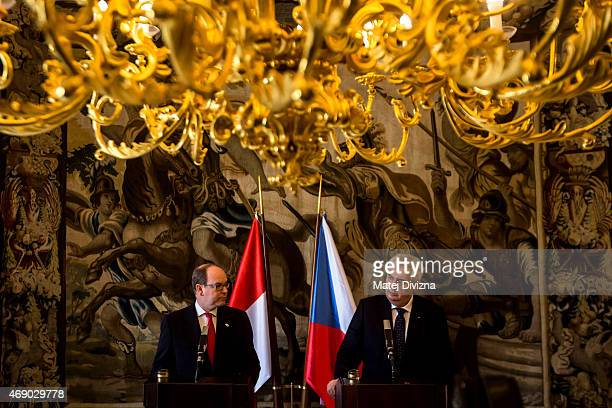 Czech President Milos Zeman and Prince Albert II of Monaco hold a press conference at Prague Castle on April 9 2015 in Prague Czech Republic Prince...