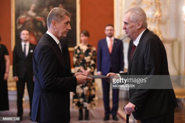 Czech President Milos Zeman appoints ANO party leader Andrej Babis as the countrys new prime minister on December 06 2017 at the Prague Castle...