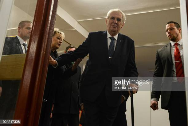Czech President Milos Zeman arrives at a polling station in Prague on January 12 2018 The first round of the presidential election will be held on...