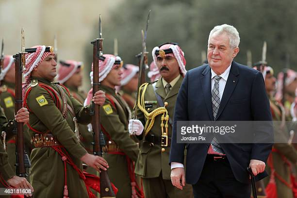 Czech President Milos Zeman arrives at Al Husseineya Palace to meet with Jordan's King Abdullah II and his wife Queen Rania on February 11, 2015 in...