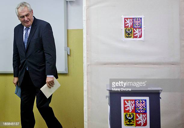 Czech President Milos Zeman arrives for casting his ballot during the first day of the Czech early election on October 25, 2013 in Prague, Czech...