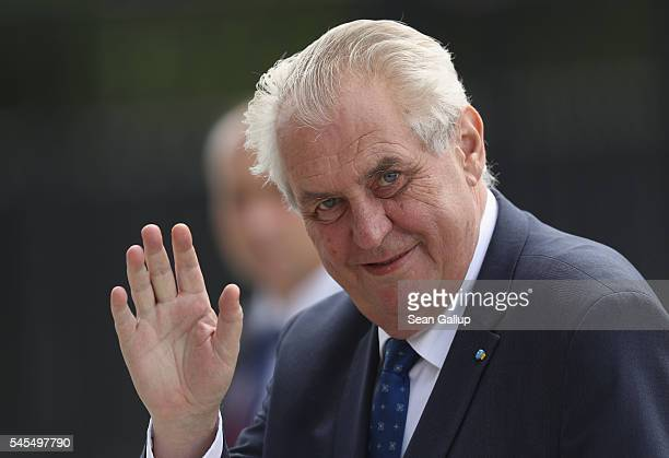 Czech President Milos Zeman arrives for the Warsaw NATO Summit on July 8 2016 in Warsaw Poland NATO member heads of state foreign ministers and...