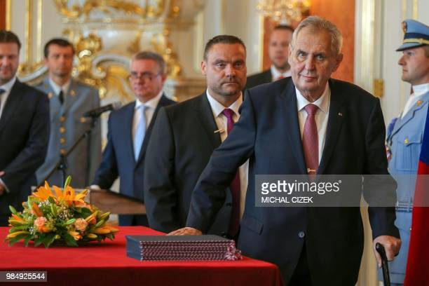 Czech President Milos Zeman arrives to appoint the new Czech government of the Czech Prime Minister on June 27 2018 at the Hradcany Castle in Prague...