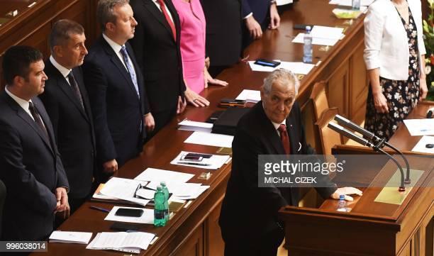 Czech President Milos Zeman arrives to deliver his speech in the Czech Parliament in Prague Czech Republic on July 11 2018 Czech Republic's...