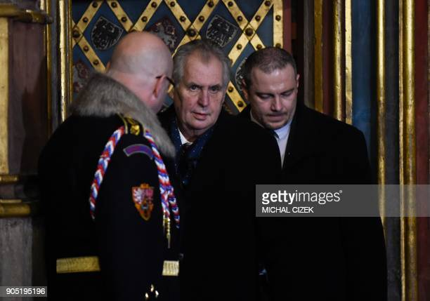 Czech President Milos Zeman attends the ceremony presenting the Crown of Saint Wenceslas of Bohemia prior the opening of the 'Czech Jewels'...