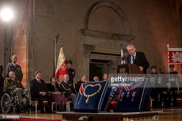 Czech President Milos Zeman delivers a speech during awarding of state orders and medals at the Prague Castle on October 28 2016 in Prague Czech...