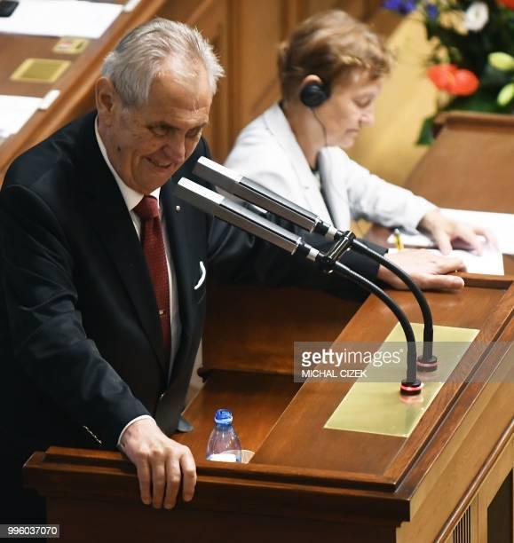 Czech President Milos Zeman delivers a speech in the Czech Parliament on July 11 2018 in Prague Czech Republic Czech Republic's Parliament gathered...