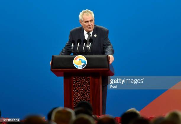 Czech President Milos Zeman delivers a speech on Plenary Session of High-Level Dialogue, at the Belt and Road Forum on May 14, 2017 in Beijing,...
