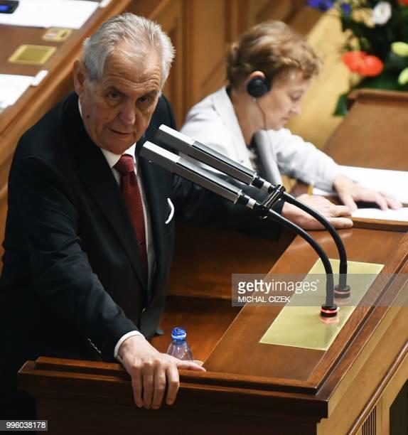 Czech President Milos Zeman delivers his speech in the Czech Parliament in Prague Czech Republic on July 11 2018 Czech Republic's Parliament gathered...