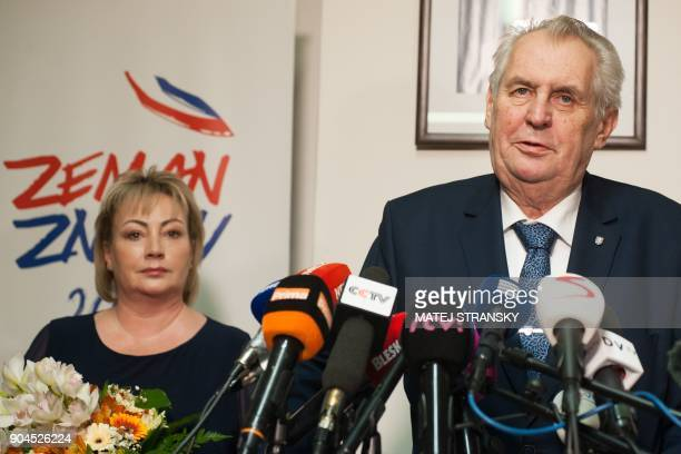 Czech President Milos Zeman delivers his speech to journalists at his election headquarters after the first round of the presidential election on...