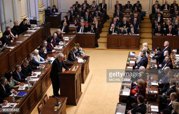 Czech President Milos Zeman deliviers his speech supporting the government of Czech Prime Minister Andrej Babis on January 10 2018 in the Czech...