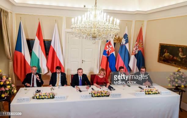 Czech President Milos Zeman, Hungarian President Janos Ader, Polish President Andrzej Duda, Slovak President Zuzana Caputova, Slovenian President...