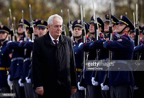 Czech President Milos Zeman inspects the hoonour guard during an Independence Day ceremony at Vitkov Hill on October 28 2013 in Prague Czech Republic...