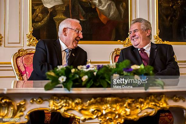 Czech President Milos Zeman meets Israeli President Reuven Rivlin at the Prague Castle on October 21 2015 in Prague Czech Republic Israeli President...
