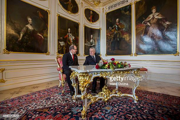 Czech President Milos Zeman meets Prince Albert II of Monaco at Prague Castle on April 9 2015 in Prague Czech Republic Prince Albert II of Monaco is...