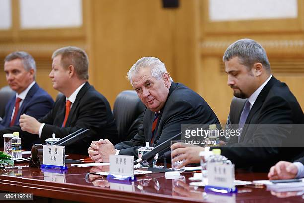 Czech President Milos Zeman meets with Chinese President Xi Jinping at The Great Hall Of The People on September 4 2015 in Beijing China Milos Zeman...