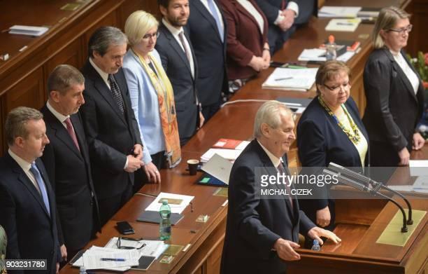 Czech President Milos Zeman prepares to give a speech on January 10 2018 in the Czech Parliament in Prague Czech Republic's Parliament gathered for a...