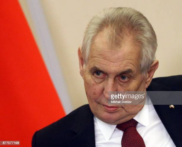 Czech President Milos Zeman speeches during RussianCzech talks at Black Sea resort state residence of Bocharov ruchey in Sochi Russia November2017...