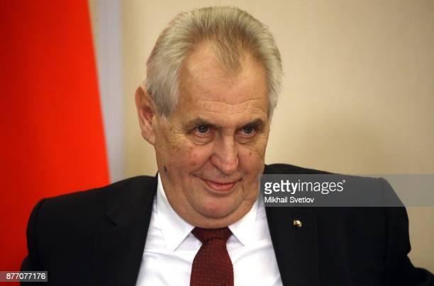 Czech President Milos Zeman speeches during RussianCzech talks at Black Sea resort state residence of Bocharov ruchey in Sochi Russia November2017...