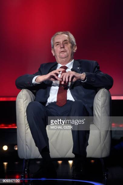 Czech President Milos Zeman takes part in the presidential debate with former head of the Czech Academy of Sciences and candidate for the...
