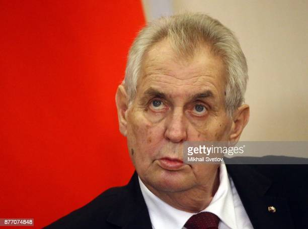 Czech President Milos Zeman talks during RussianCzech talks at Black Sea resort state residence of Bocharov ruchey on November 21 2017 in Sochi...
