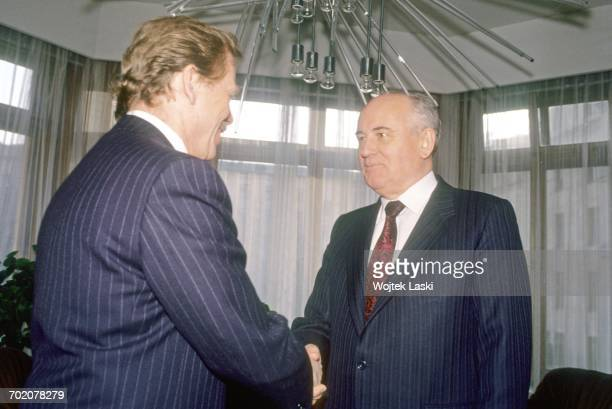 Czech President Vaclav Havel and former General Secretary of the Communist Party of the Soviet Union Mikhail Gorbachev during a meeting at the...