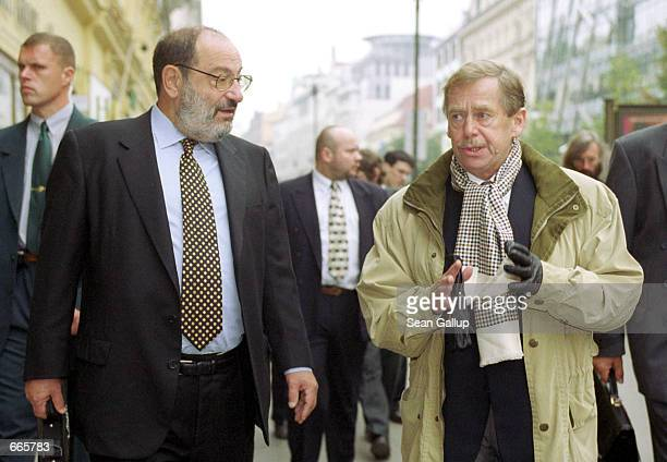 Czech President Vaclav Havel right and Italian writer Umberto Eco the author of Foucault's Pendulum and The Name of the Rose walk together October 5...
