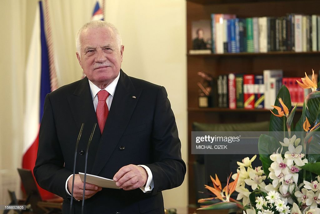 Czech President Vaclav Klaus delivers his New Year's speech on January 1, 2013 at the Prague Castle. Czech and Slovak's Republics commemorate the 20th anniversary of the peaceful split of the former Czechoslovakia into two states.