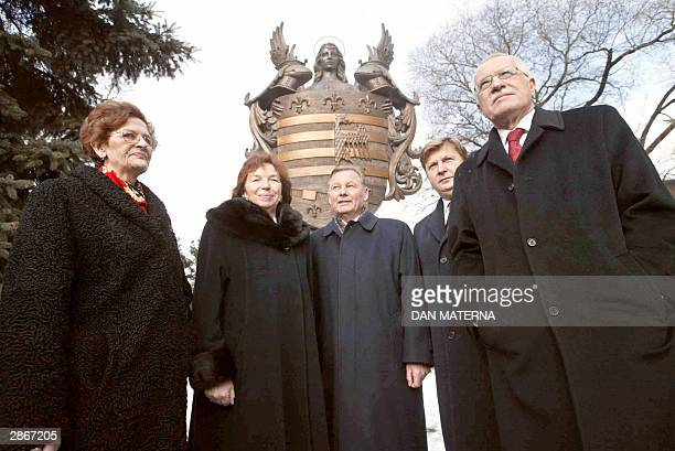 Czech President Vaclav Klaus his Slovakian counterpart Rudolf Schuster the two First Ladies Livie Klausova and Irena Schusterova and Kosice Mayor...