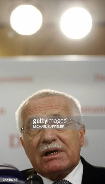 Czech President Vaclav Klaus is pictured during the presentation of the German edition of his book Blue Planet in Green Chains What is Endangered...