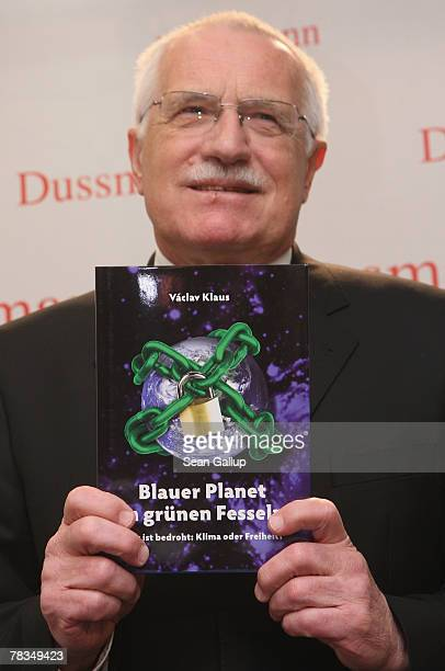 Czech President Vaclav Klaus poses for the media while presenting the Germanlanguage edition of his book 'Blue Not Green Planet' at Dussmann...