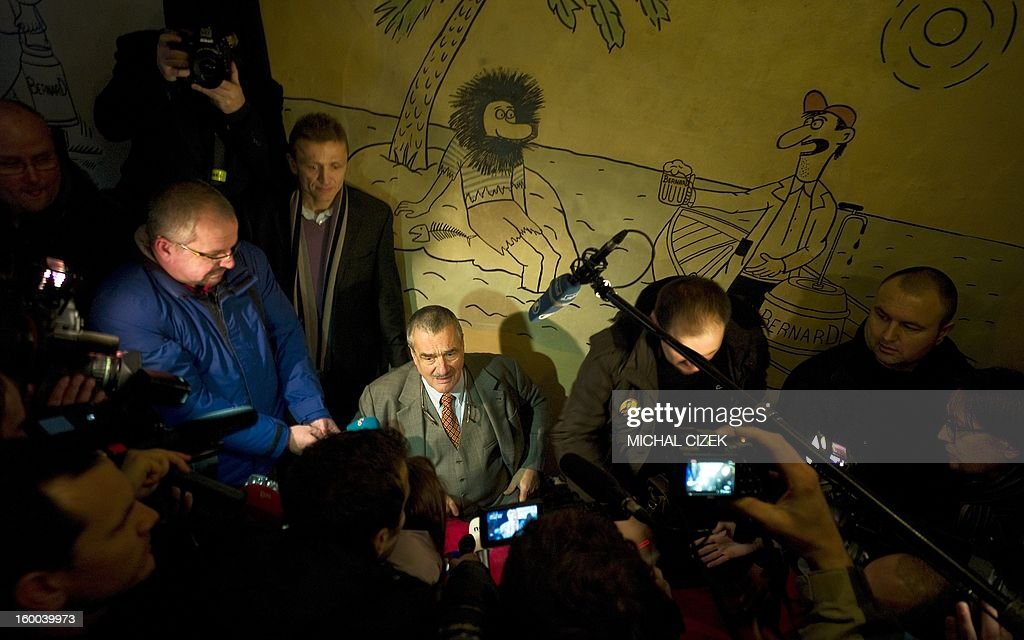 Czech presidential candidate Karel Schwarzenberg speaks to journalusts after casting his ballot during the second round of the first direct Czech presidential election on January 25, 2013 in Sykorice village, 50km from Prague. Czechs went to the polls to choose a new president between a former communist and a 75-year-old aristocrat whose Sex Pistols-inspired campaign brought the election to life and down to the wire.