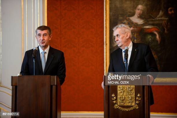 Czech Prime Minister and ANO party leader Andrej Babis and Czech President Milos Zeman give a press conference after Zeman appointed the new Czech...