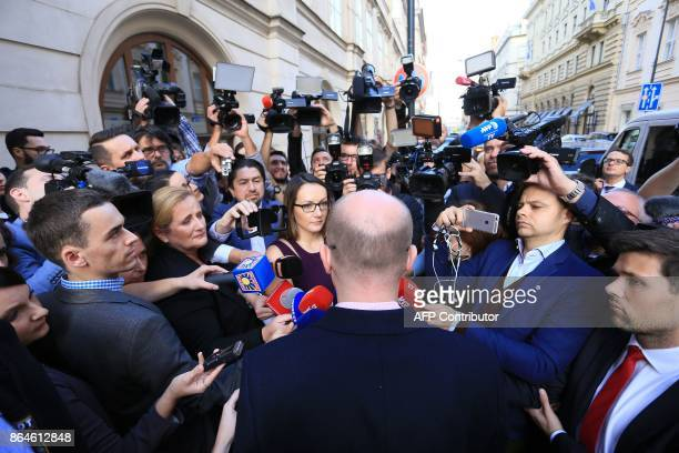 Czech prime minister and social democrate Bohuslav Sobotka speaks to media at the residence of Czech Social Democratic Party after the first election...